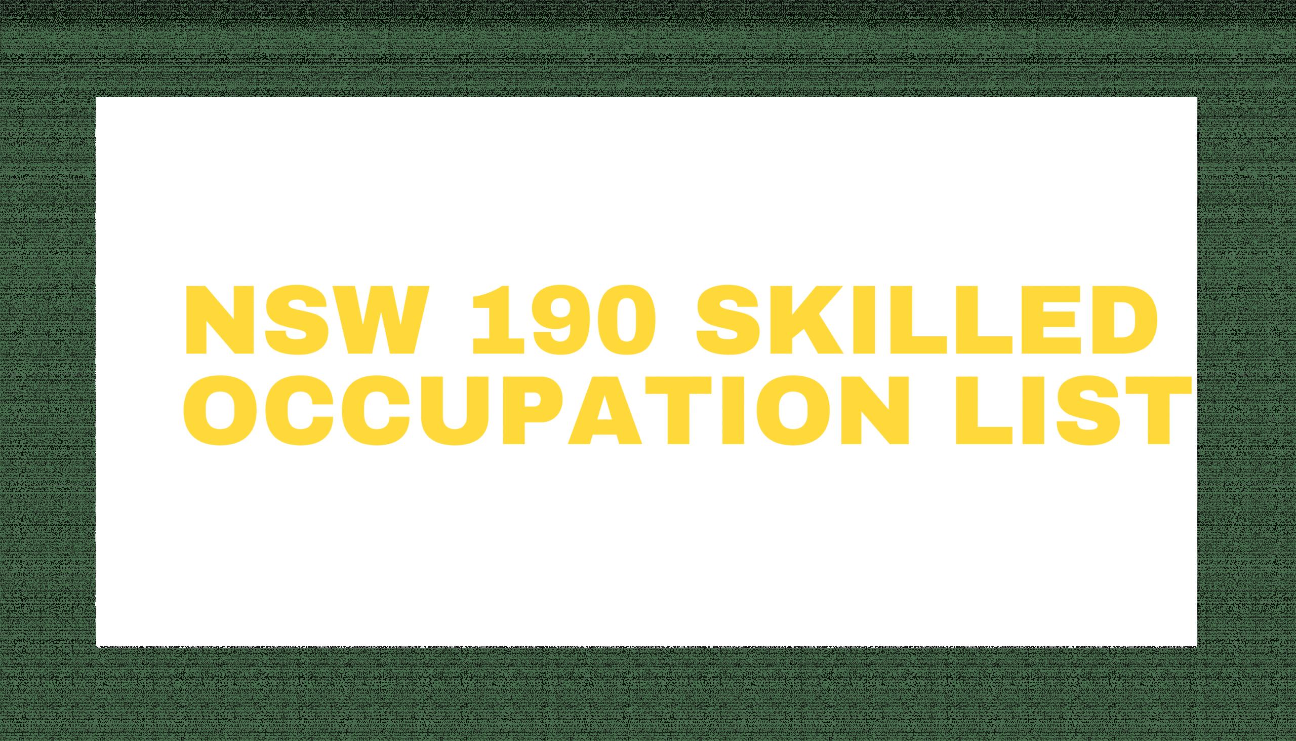 NSW 190 Skilled Occupation List 2021